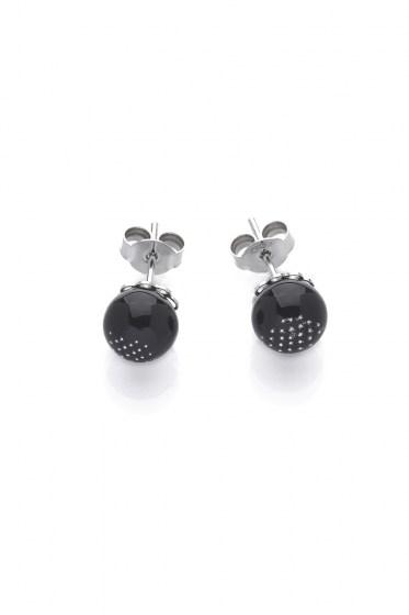 Silver 925 CHANTAL EARRINGS CAB. RODIUM COL. BLACK
