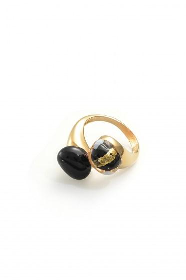 RING CAMILLE COL. BLACK E GOLD